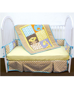 "Luvable Friends ""Safari Time"" Unisex 4-Piece Baby Bedding Set - CookiesKids.com"