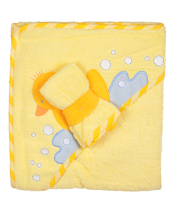 "Luvable Friends ""Splash Duck"" Hooded Towel with Washcloth - CookiesKids.com"