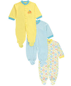 "Luvable Friends ""Elephant Adventure"" 3-Pack Footed Coveralls (Sizes 0M – 9M) - CookiesKids.com"