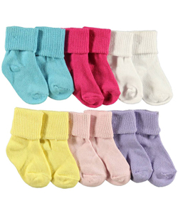 "Luvable Friends Baby Girls' ""Texture Cuff"" 6-Pack Socks - CookiesKids.com"