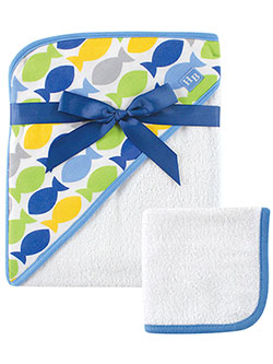 "Hudson Baby ""School of Fish"" Hooded Towel & Washcloth - CookiesKids.com"