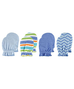 "Luvable Friends ""Zigzag & Solids"" 4-Pack Scratch Mittens - CookiesKids.com"