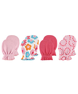 "Luvable Friends ""Floral & Solid"" 4-Pack Scratch Mittens - CookiesKids.com"