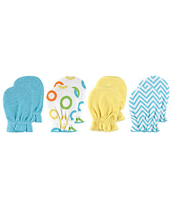 "Luvable Friends ""Zigzag & Circles"" 4-Pack Scratch Mittens - CookiesKids.com"