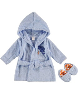 "Luvable Friends ""Sharky"" Robe & Slippers Set (Sizes 0M – 9M) - CookiesKids.com"