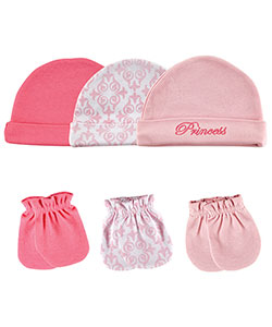 "Luvable Friends ""Princess Scroll"" 6-Pack Caps & Mitts - CookiesKids.com"