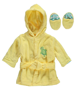 "Luvable Friends Baby Unisex ""Turtle Splash"" Robe & Slippers Set - CookiesKids.com"