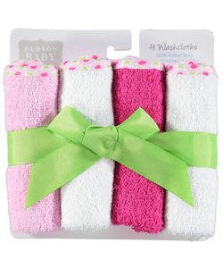 "Hudson Baby Baby Girls' ""Flower Medley"" 4-Pack Washcloths - CookiesKids.com"