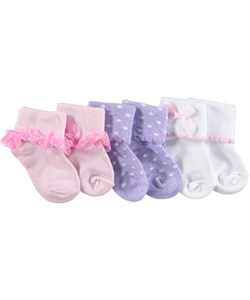 "Luvable Friends Baby Girls' ""Dainty Collection"" 3-Pack Socks - CookiesKids.com"