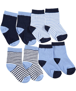 "Luvable Friends Baby Boys' ""Stripes + Solids"" 4-Pack Crew Socks - CookiesKids.com"