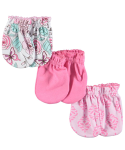 "Luvable Friends Baby Girls' ""Spring Variety"" 3-Pack Scratch Mittens - CookiesKids.com"