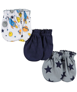 "Luvable Friends Baby Boys' ""Star Variety"" 3-Pack Scratch Mittens - CookiesKids.com"