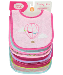 "Luvable Friends ""Balloon Ride"" 7-Pack Bibs - CookiesKids.com"
