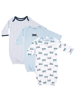 "Luvable Friends Baby Boys' ""Trains"" 3-Pack Gowns - CookiesKids.com"