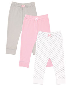"Luvable Friends Baby Girls' ""Dots & Solid"" 3-Pack Pants - CookiesKids.com"
