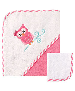 "Luvable Friends ""Owl on a Branch"" Hooded Towel & Washcloth - CookiesKids.com"