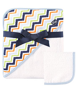 "Hudson Baby ""Fuzzy Zigzag"" Hooded Towel & Washcloth - CookiesKids.com"