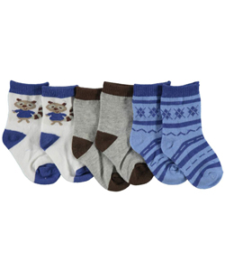"Luvable Friends Baby Boys' ""Raccoon"" 3-Pack Crew Socks - CookiesKids.com"