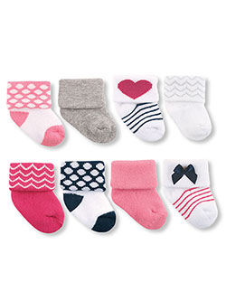 "Luvable Friends Baby Girls' ""Hearts & Dots"" 8-Pack Socks - CookiesKids.com"