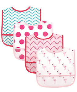 "Luvable Friends ""Flamingo Medley"" 4-Pack Easy-Clean Bibs - CookiesKids.com"