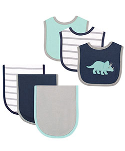 "Hudson Baby Baby Boys' ""Stegosaurus"" 6-Piece Burp Cloth & Bib Gift Set - CookiesKids.com"