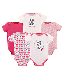 "Hudson Baby Baby Girls' ""Arrows & Feathers"" 5-Pack Bodysuits - CookiesKids.com"