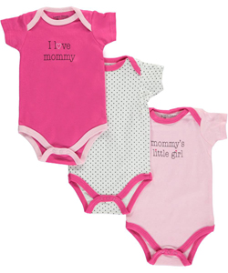"Luvable Friends Baby Girls' ""Polka Mommy"" 3-Pack Bodysuits - CookiesKids.com"