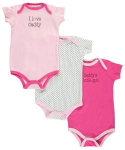 "Luvable Friends Baby Girls' ""Polka Daddy"" 3-Pack Bodysuits - CookiesKids.com"