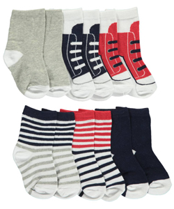 "Luvable Friends Baby Boys' ""Striped & Laced"" 6-Pack Crew Socks - CookiesKids.com"
