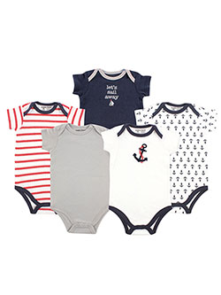 "Luvable Friends Baby Boys' ""Let's Sail Away"" 5-Pack Bodysuits - CookiesKids.com"