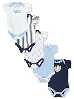 "Luvable Friends Baby Boys' ""Baseball Rookie"" 5-Pack Bodysuits - CookiesKids.com"