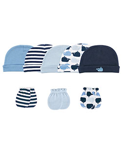 "Luvable Friends Baby Boys' ""Whale Spout"" 8-Pack Caps & Mitts - CookiesKids.com"