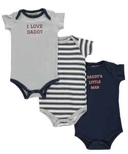 "Luvable Friends Baby Boys' ""I Love Daddy"" 3-Pack Bodysuits - CookiesKids.com"