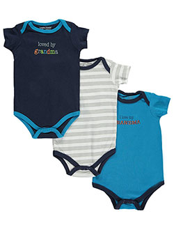 "Luvable Friends Baby Boys' ""Loved by Grandma"" 3-Pack Bodysuits - CookiesKids.com"