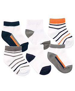 "Yoga Sprout Baby Boys' ""Striped Comfort"" 6-Pack No-Show Socks - CookiesKids.com"