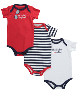 "Luvable Friends Baby Boys' ""Ladies Love Me"" 3-Pack Bodysuits - CookiesKids.com"