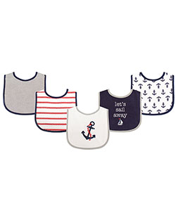 "Luvable Friends ""Roped Anchors"" 5-Pack Baby Bibs - CookiesKids.com"