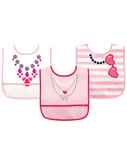 "Luvable Friends ""Accessorized"" 3-Pack Easy-Clean Bibs - CookiesKids.com"