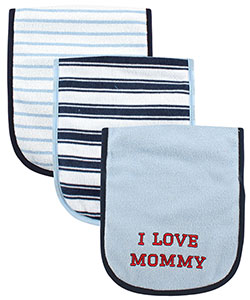 "Luvable Friends ""Mommy Stripes"" 3-Pack Burp Cloths - CookiesKids.com"