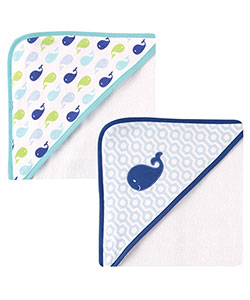 "Luvable Friends ""Whale Pod"" 2-Pack Hooded Towels - CookiesKids.com"