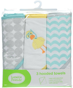 "Luvable Friends' ""Scuba Duck"" 3-Pack Hooded Towels - CookiesKids.com"