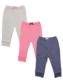 "Luvable Friends Baby Girls' ""Classic Solids & Dots"" 3-Pack Pants - CookiesKids.com"