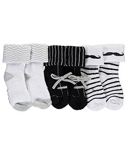 "Luvable Friends Baby Boys' ""Mustache Prints"" 3-Pack Socks - CookiesKids.com"