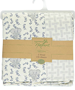 "Touched by Nature ""Sleepy Elephant"" 2-Pack Fitted Crib Sheets - CookiesKids.com"
