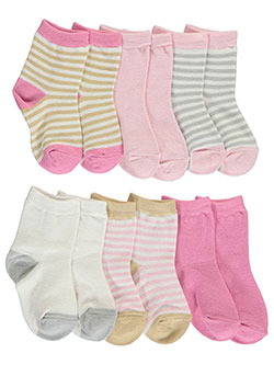 "Touched by Nature Baby Girls' ""Neutral Stripe"" 6- Pack Crew Socks - CookiesKids.com"