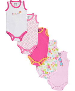 "Luvable Friends Baby Girls' ""Sunshine Shades"" 5-Pack Sleeveless Bodysuits - CookiesKids.com"