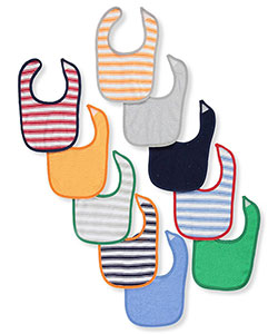 "Luvable Friends Baby Boys' ""Solids & Stripes"" 10-Pack Bibs - CookiesKids.com"