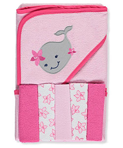 "Luvable Friends ""Whale"" Hooded Towel & Washcloth Set - CookiesKids.com"