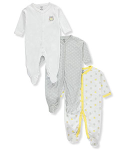 "Luvable Friends Unisex Baby ""Happy Owl"" 3-Pack Footed Coveralls - CookiesKids.com"
