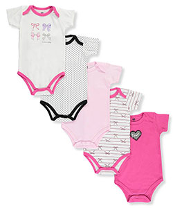 "Hudson Baby Baby' Girls' ""Bows & Dots"" 5-Pack Bodysuits - CookiesKids.com"